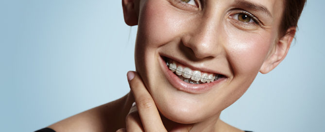 Girl with braces from an orthodontist